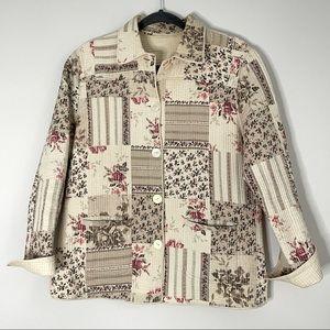 Vintage Floral Quilted Patchwork Jacket Shacket S